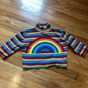 UNIF RAINBOW MOCK NECK CROP TOP